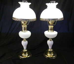 Pair Vintage Mid Century His Hers Milk Gold Brass Glass Hurricane Lamps Mcm