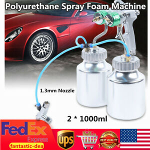 Polyurethane Spray Foam Machine Paint Spray Gun With 2 1000ml Aluminum Pots Usa