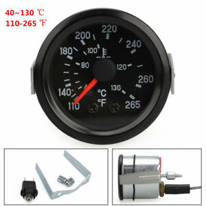 2 Water Temperature Gauge Kit With Sensor Black Dial Clear Lens For Car Truck