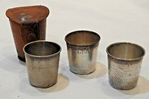 Set Of 3 Antique Webster Sterling Silver Only A Thimble Full Shot Glasses