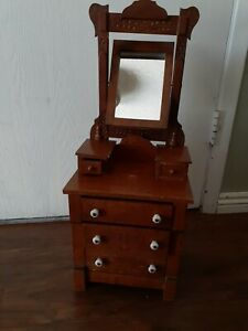 Antique Handmade Salesman Sample Tall Dresser With Tilt Mirror Porcelain Knobs