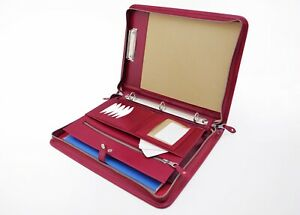 Leather Portfolio Clipboard Ipad Case Leather 3 Ring Binder Red Document Bag