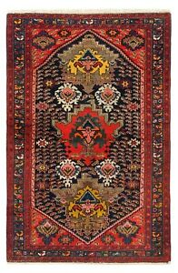 Hand Knotted Antique Mishan Malayer Tribal Oriental Rug Wool Navy 4 2 X 6 7