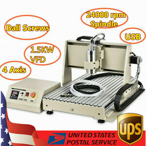 Usb Vfd 4axis Cnc 6040 Router Engraver Milling Drilling Machine 3d Cutter 1 5kw