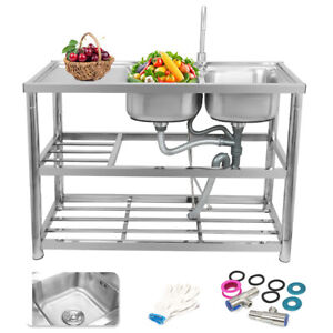 Commercial Stainless Steel Kitchen Sink Double Bowls Catering Prep Table New