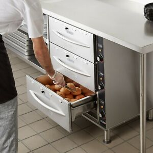 120 Volt Electric Stainless Steel Triple Drawer Nacho Chip Bread Food Warmer