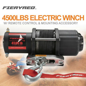 4500lbs Electric Winch W Synthetic Rope Remote Control For Atv Ute Offroad 4wd