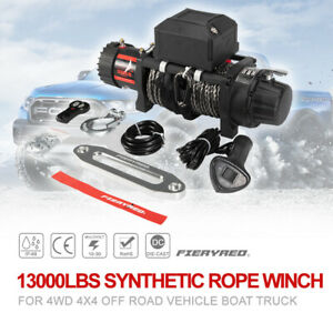 Fieryred 13000lb Synthetic Rope Electric Winch Car Suv Offroad W Remote Control