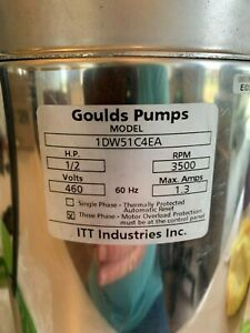 Goulds Submersible Dewatering Pump 1dw51c4ea 1 2 Hp 460 Volts 3 Phase 72gpm