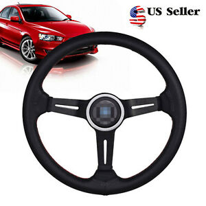 14 Car Steering Wheel 6 Bolt Mid Deep Dish Racing Drifting W Horn Aluminum Us