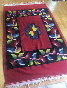 Lg Vintage Navajo Native South West American Indian Weaving Rug Wool Red Large