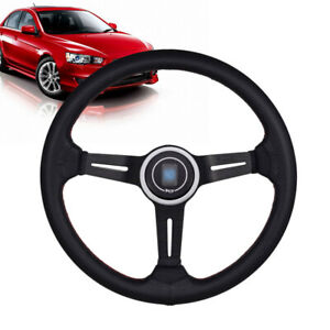 14in Car Steering Wheel 6 Bolt Mid Deep Dish Racing Drifting Horn Aluminum Us