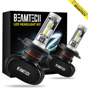 Beamtech H4 9003 Led Headlight Bulbs High Low Beam 50w 6500k White Csp Fanless
