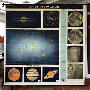 Rare Vintage Astronomy Chart Moon Stars Planets Large Educational Chart Space