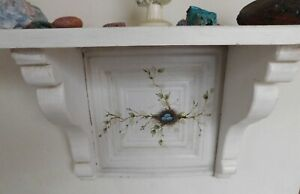 Antique Wood Tin Wall Shelf Hand Painted Rustic Country Farmhouse Cottage White