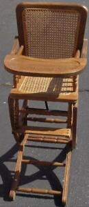Antique Solid Wood Convertible High Chair Rocker Woven Cane Seat