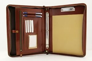Leather Clipboard A4 Professional 3 Ring Binder Business Organizer Cognac