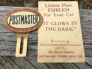Vintage Nap National Association Of Postmasters 1953 License Plate Topper