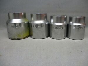 Lot Of 4 3 4 Drive Sockets 1 13 16 1 5 8 1 3 8 1 1 4 Used 12 Pt
