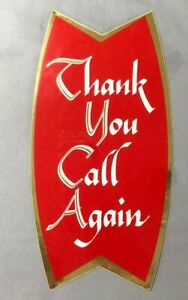 1960 COCA COLA Fishtail  Store Door WINDOW DECAL Vintage Advertising THANK YOU