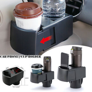 1x Adjustable Car Scalable Universal Dual Cup Holder Drink Ashtray Phone Bracket