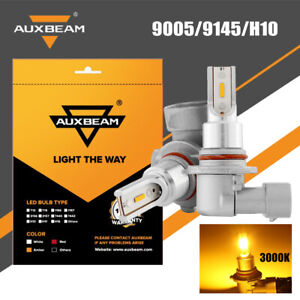 Auxbeam 9145 9140 H10 9005 Led Fog Driving Light Bulbs 2400lm 3000k Amber Yellow