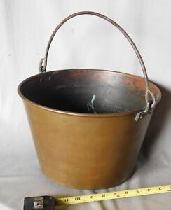 Antique Brass Bucket Cauldron Date 1868 Iron Bail Handle Gathering Water Ansonia