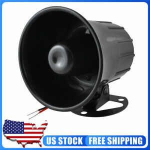 Dc 12v 15w Replacement One Tone Car Monophonic Security Alarm Siren Horn Black