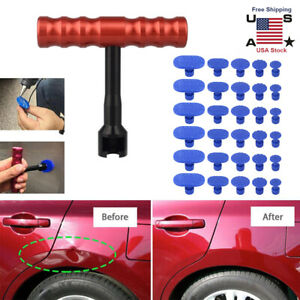 Car Body Paintless Dent Repair Removal Tool Kit Puller Lifter T Bar Pulling Tabs