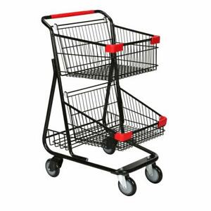 Double Basket Wire Shopping Cart In Metal With Black 19 W X 11 1 2 D X 18 1 2 H