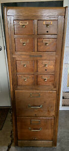 Antique Library Bureau Sole Maker 8 Over 2 Drawers File Cabinet Card Catalog
