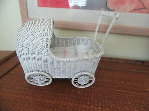 Vintage Doll Baby Carriage White Wicker 10 X 8 X 5