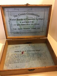 Vintage Antique Medical Fountain Syringe Water Bottle Indian Rubber Comb Box