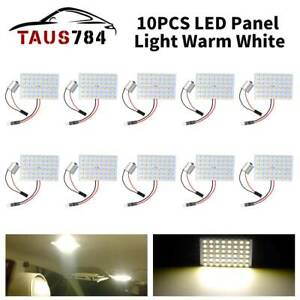 10x Warm White 48 Smd Led Bulb 1156 Adapters Instrument Panel Interior Light