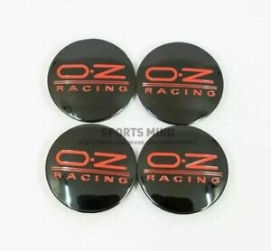 4 Pcs Oz O z Red Logo Racing Style 62mm 58mm Jdm F1 Edm Black Wheel Center Caps