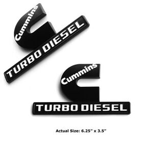 2pc Cummins Turbo Diesel Emblems Fits Mopar Dodge Ram Kenworth Peterbilt Volvo