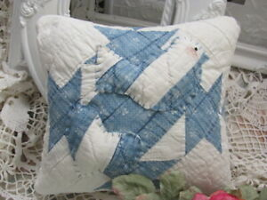 Primitive Blue And White Bird And Hear 11 X 10 Pillow Made From Vintage Quilt