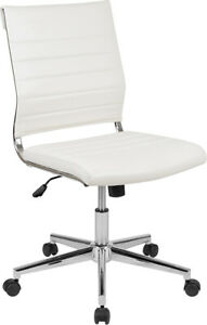 Mid back Armless White Leather Swivel Office Chair With Adjustable Seat Height