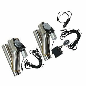 2pcs 3 Electric E Cut Out Valve Exhaust Downpipe One Controller Remote Kit