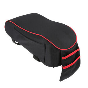 Universal Center Console Lid Car Armrest Box Mat Pad Cover Cushion Black Red