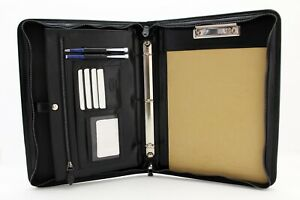 Leather 3 Ring Binder Black Clipboard Legal Size Professional Portfolio