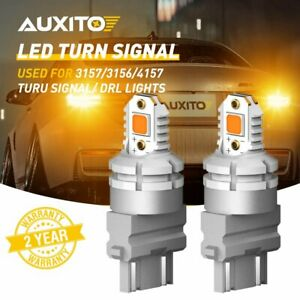 2x Auxito 3157 3156 4157 3457 Led Amber Yellow Turn Signal Light Bulb Error Free
