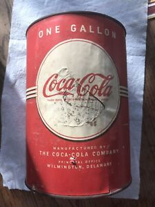 Coca Cola Vintage Cone Top One Gallon Syrup Can With Lid