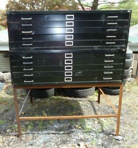 2 Vintage Safco 5 drawer Metal Flat File Cabinets Art Plans Maps Blueprint