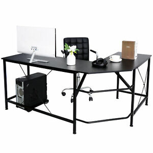 L shaped Desk Corner Computer Gaming Laptop Table Workstation Home Office Black