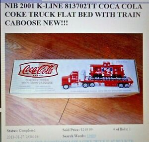 K-Line FLATBED TOY TRUCK W/ TRAIN CAR - COKE COCA COLA by Taylor Made Trucks
