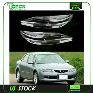 Headlight Headlamp Cover Left Right Fit For 2003 2008 Mazda 6 Front 2pcs