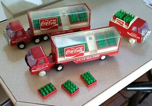 Vintage Buddy L Toy Coca Cola LOT - 2 semis, Delivery Truck w/Crate Bottles COKE
