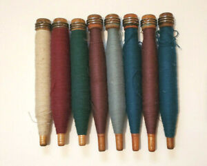 Vintage Antique Primitive 8 Wood Bobbins Spools Thread Weaving