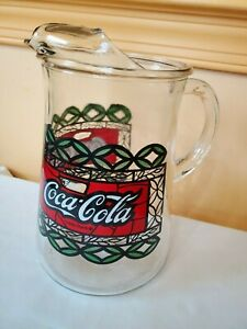vintage enjoy coca - cola glass pitcher tiffany style stained glass 8.5'' green
